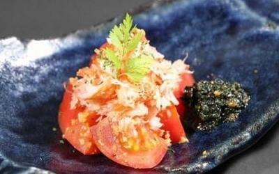 ズワイガニと焼きトマト ジェノベーゼソース